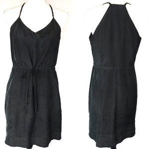 Madewell black silk halter-style dress